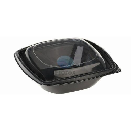 PLA saláta tál, 480ml, fekete,126x126x87mm, fedéllel